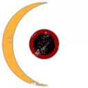 Yellow Moon and Red Ball - with black center
